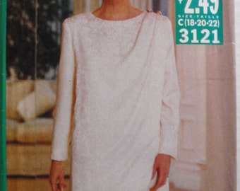 Easy See and Sew Sewing Pattern - Top and Skirt - Butterick 3121 - Sizes 18-20-22, Bust 40-42-44, Uncut