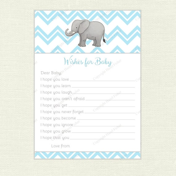Elephant Wishes For Baby Card Baby Shower Printable Game