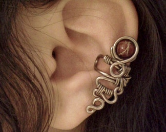 Red Planet Ear Cuff no piercing fantasy cranberry wrap