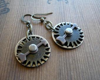 Steampunk Gears and Spinner Earrings