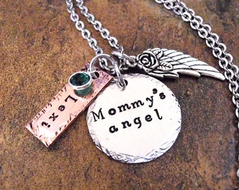 Mommy's Angel, Infant Loss, Memorial Jewelry, Hand Stamped Jewelry, Miscarriage Memorial, Sympathy Gift for Mom