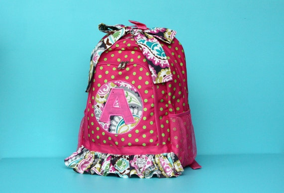 Backpack Full size pink and green polka dot