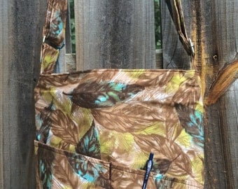 Cross Body Messenger Bag with zipper closure and lots of pockets - Vintage fabric: Brown, Yellow and Turquoise Leaves