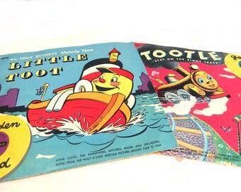 Vintage Children's Golden Records, 1950s Little Toot & Tootle, Yellow Vinyl 78 rpm Records