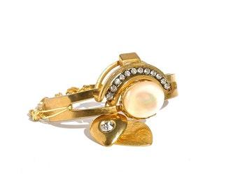 Mother of Pearl Cuff Bracelet Vintage Repurposed Antique Bangle by Dabchick Vintage Gems