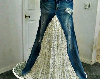 Vintage lace bohemian ballroom jean skirt Renaissance Denim Couture fairy goddess distressed fleur de lys French mermaid belle bohémienne