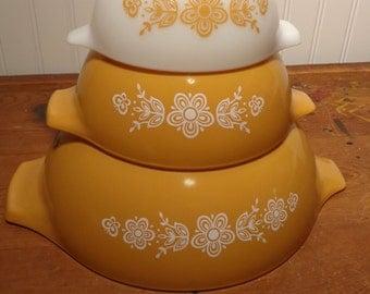 Vintage Pyrex Butterfly Gold - Nesting Cinderella Bowl Set  - 13-800