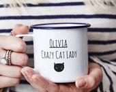 Personalised Cat Lady Enamel Mug