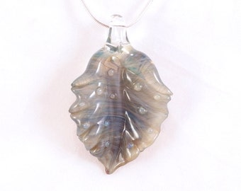 LEAF Jubilant Glass Sculptural Art Glass Borosilicate Heady Glass Pendant On Sterling Silver Satin or Cotton Necklace Free Shipping