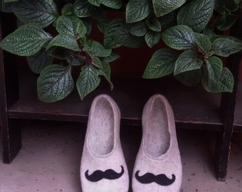 Felted Men slippers  - mens house shoes - felted wool clogs - felted wool slippers - Father's day gift - Mustache, Easter gift