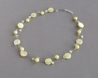 Lemon Floating Pearl Necklace - Pastel Yellow Multi-strand Necklaces - Light Yellow Bridesmaid Gifts - Pale Yellow Wedding Jewellery