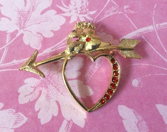 Vintage 60's Valentine Heart & Arrow with Shy Cupid Goldtone Red Rhinestone Brooch / Pin