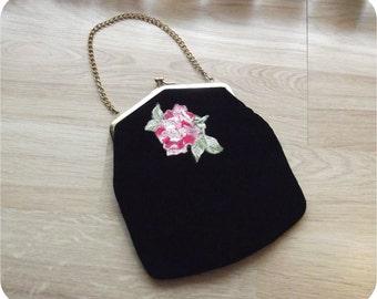 Vintage 60s Purse   1960s Evening Bag    Handbag Clutch   Black Velvet & Hot Pink Taffeta   ROSE Embroidered   Chain Handle