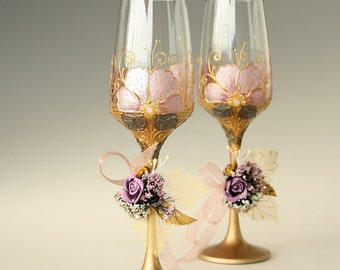Wedding Glasses, Champagne Glasses,Gold Pink Glasses, Hand Painted, set of 2