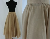 Vintage Full Skirt - Tan Summer Skirt - Mid Length Circle Skirt - Small Midi Skirt