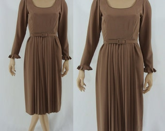 SALE Vintage Seventies Day Dress - 1970s Light Brown Belted Dress - 70s Secretary Dress - XS Vintage Dress