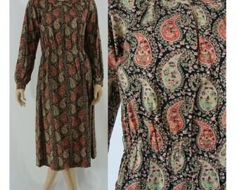 SALE Vintage Seventies Dress - 1970s Paisley Day Dress - 70s Lillie Rubin Dress - Long Sleeve Dress - Large