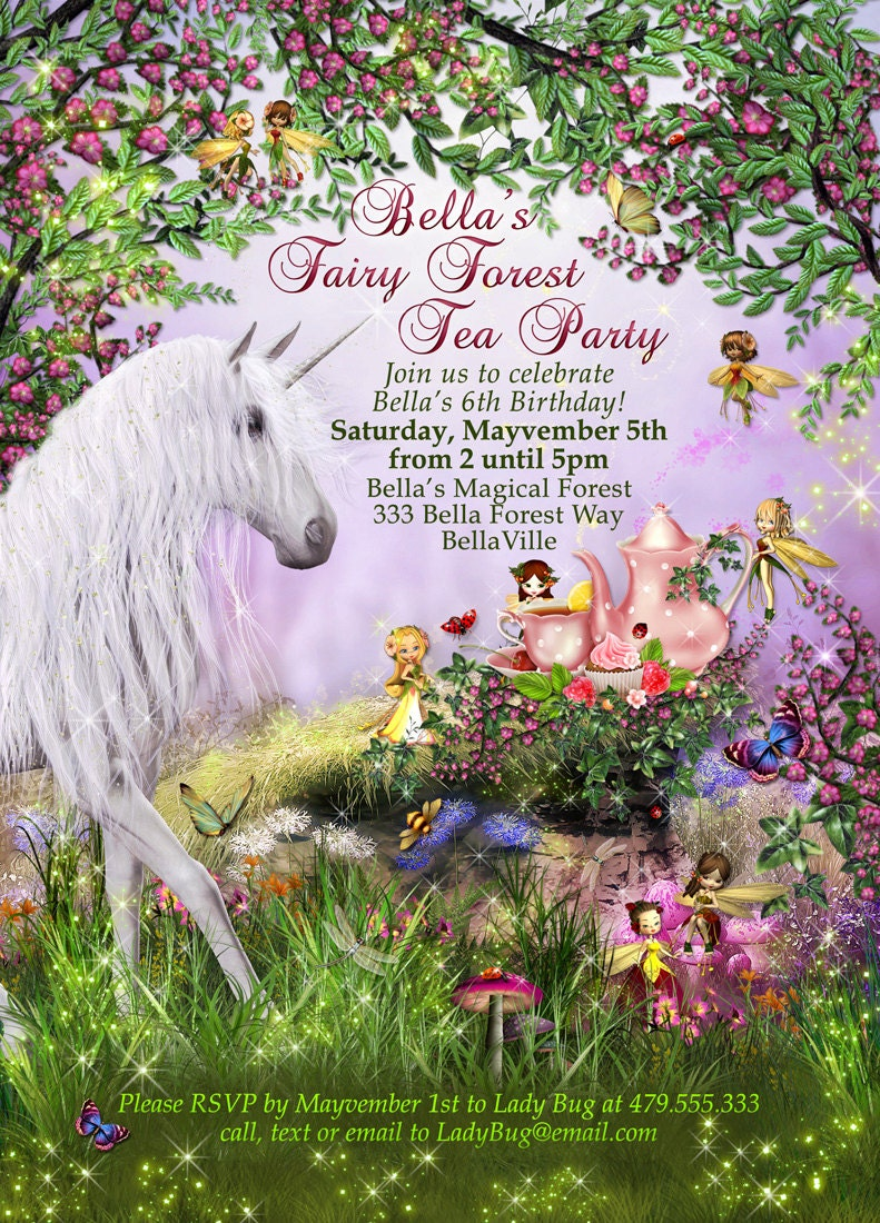 Unicorn Fairy Tea Party Unicorn Party Invitation Birthday – Fairy Tea Party Invitations