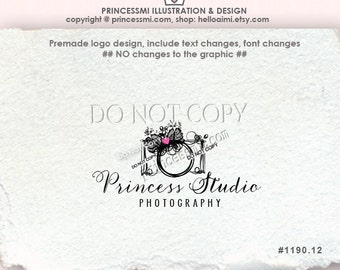 1190-12 CAMERA Logo Design ,  photography logo design , whimsical Camera with lace bow , wedding Photography , watermark