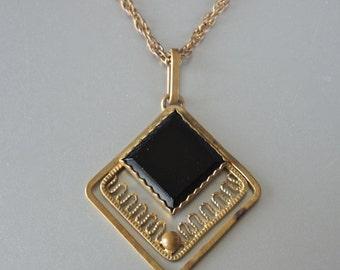 Vintage Pendant Black Onyx Glass Modern Necklace 60's/70's Goldtone