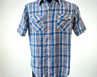 Men's 70's/80's Plaid Shirt by Country Touch Red, White and Blue Size M Short Sleeve