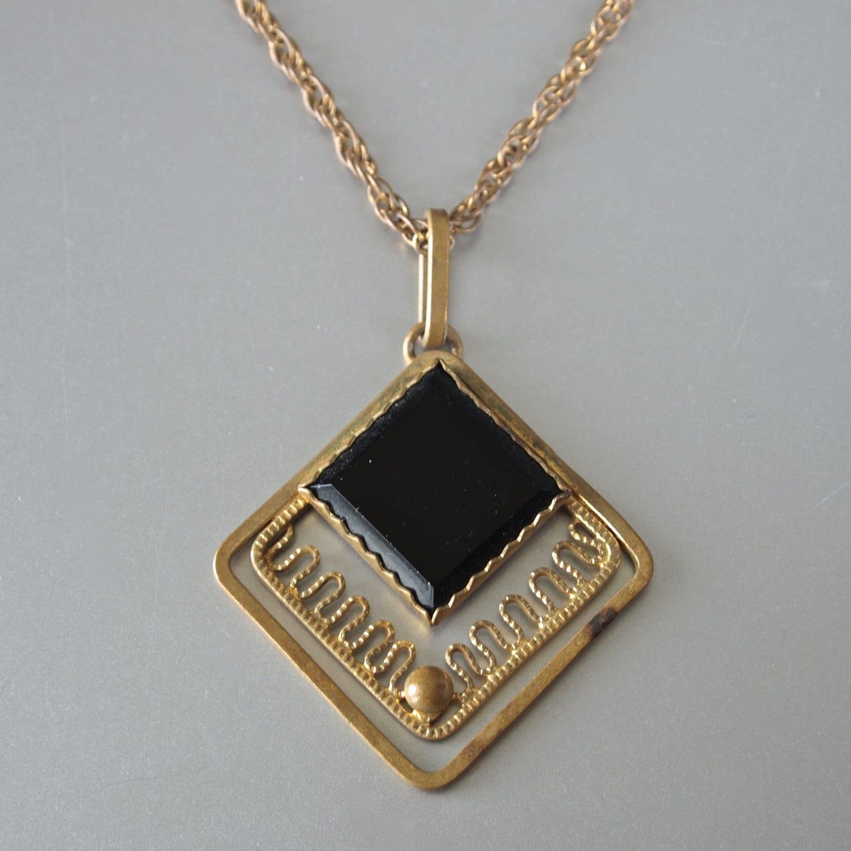 vintage pendant black onyx glass modern necklace