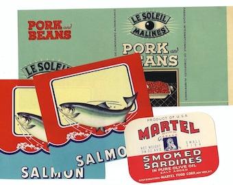 Vintage labels assorted set - Beans, Salmon, Sardines - ANTIQUE RETRO LABEL Pack - Groceries