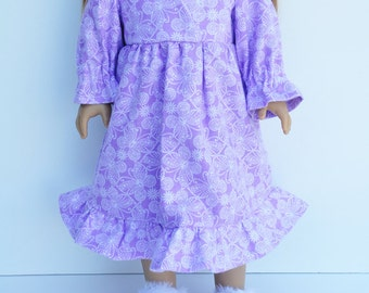 AG Doll Clothes - Flannel Nightgown, Lilac, Purple, Butterflies, Long Sleeve, Ruffles, 18 inch