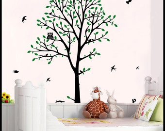 TREE WALL DECAL : Big Tree wall decor kids nursery huge decal branches, owl, birds and squirrels