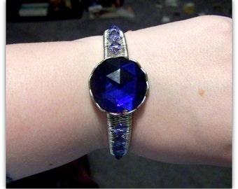 Victorian Bracelet - Victorian Cuff Bracelet - Crown Bracelet, Filigree Bracelet, Wire Wrap Bracelet, Medieval Bracelet, Tudor, Swarovski