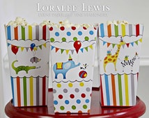 Animal Party Popcorn Boxes by Loralee Lewis