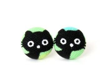 Black cat earrings - kitten earrings - kawaii children kids cute black green blue kitty