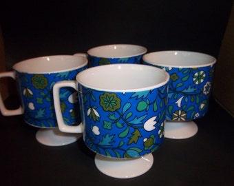 Set of 4 Retro Blue Flower Pedestal Coffee Tea Cups