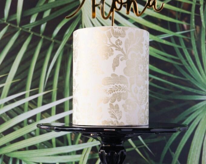 Aloha Tropical Wedding, Birthday, Celebration, Cake Topper, Laser Cut, Acrylic, Gold, Black, Pink