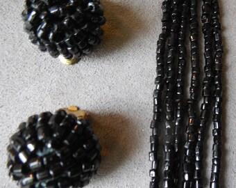 Vintage Multi Strand Black Glass Seed Bead Necklace & Earrings Set     MAH11