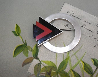 Abstract Artisan Signed Sterling Silver Brooch    MAT16