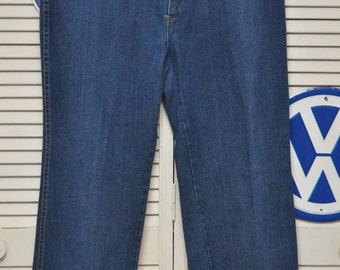 Vintage 70s Womens Blue Jeans/Pink Contrast Stitching/by Monrose/4 Pocket/Hong Kong/Cotton/Size 34 Theater Costume Indigo Dye Extra Large