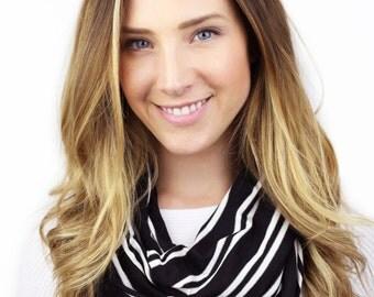 BLACK DOUBLE STRIPE scarf, zoey, black and white stripe infinity scarf