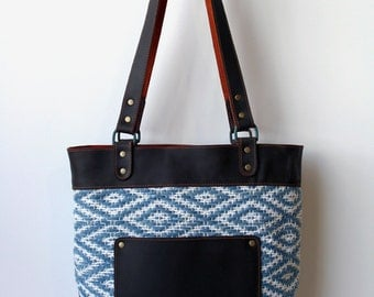 Handwoven and Leather Everyday Tote- handwoven tote bag- basic tote bag- indigo woven fabric tote- woven and leather tote bag- handwoven