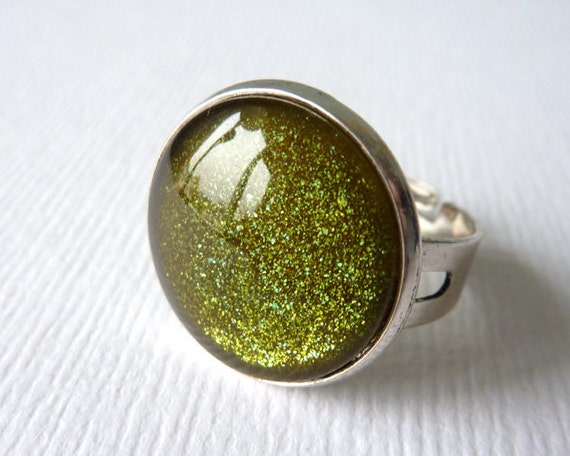 Green Glitter Ring, Zombie Chic, Adjustable Ring, UK Etsy