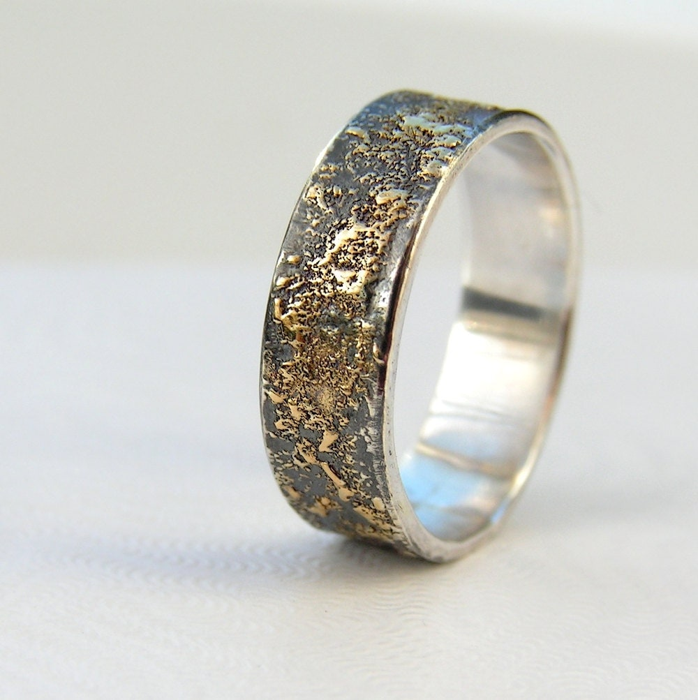 mens wedding band silver mens wedding bands Gold Chaos Rustic Men s Wedding Ring in 18kt Gold and Oxidized Sterling Silver