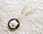 Black and white cat cameo necklace, cat jewelry, Cat Lyfe 4eva
