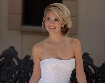 Wedding Dress/ Bridal Dress/ Full Length/ A-Line/ Sleeveless/ White Dress/ Catherine