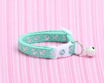 Nautical Cat Collar - Shiny Silver Anchors on Aqua Green - Kitten or Large Size