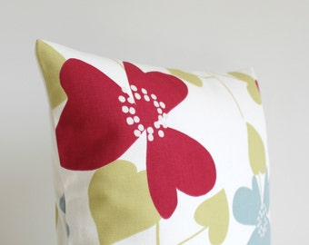 18x18 Pillow Cover, Scandinavian Pillows, Couch Pillows, Pillow Cover, 18 Inch Pillow Sham, Cushion Cover, Sofa Pillow - Nordic Bloom Red