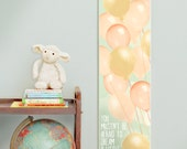 Custom/ Personalized Dream A Little Bigger, Darling canvas growth chart with coral, pink, turquoise & yellow balloons