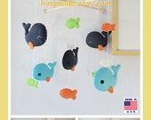 Baby Mobile, Nursery Decor, Whale Mobile, Baby Cot Mobile, Neutral Mobile, Navy Blue Orange Lime Green