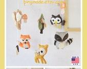 Baby Mobile, Children Decor, Woodland Friends Mobile, Forest Animals Mobile, Deer Fox Owl Raccoon, Custom Mobile