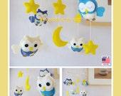 ON SALE !! Baby Mobile,Nursery Mobile,Baby Modern Nursery, Owl Mobile, Neutral Owl Mobile, Blue Owls in a Yellow Starry Night, Custom Mobile