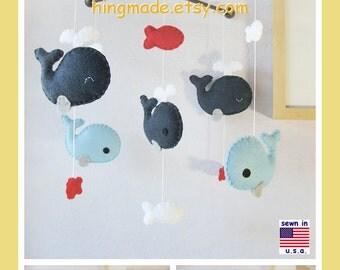Baby Mobile, Nursery Decor, Whale Mobile, Jackson Nursery Bedding - Navy Blue Red, Match Bedding Mobile